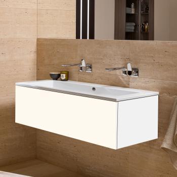Alape WP.Twice Waschtisch mit Waschtischunterschrank mit 1 Auszug weiß, ohne Hahnloch, mit Überlauf