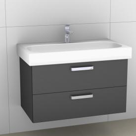 Artiqua 413 Waschtischunterschrank mit 2 Auszügen Front stahlgrau metallic / Korpus stahlgrau