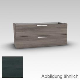 Artiqua 415 Waschtischunterschrank für Doppelwaschtisch mit 2 Auszügen Front hacienda schwarz / Korpus hacienda schwarz