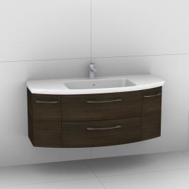 Artiqua 818 Block Waschtisch mit Waschtischunterschrank mit 2 Auszügen und 2 Türen Front mokka struktur  / Korpus mokka struktur