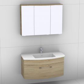Artiqua 818 Block Waschtisch mit Waschtischunterschrank mit 1 Auszug und LED-Spiegelschrank Front castello eiche/verspiegelt / Korpus castello eiche