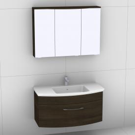 Artiqua 818 Block Waschtisch mit Waschtischunterschrank mit 1 Auszug und LED-Spiegelschrank Front mokka struktur/verspiegelt  / Korpus mokka struktur
