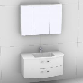 Artiqua 818 Block Waschtisch mit Waschtischunterschrank mit 2 Auszügen und LED-Spiegelschrank Front weiß hochglanz/verspiegelt / Korpus weiß glanz