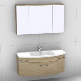Artiqua 818 Block Waschtisch mit Waschtischunterschrank mit 1 Auszug und 2 Türen und LED-Spiegelschrank Front castello eiche/verspiegelt / Korpus castello eiche
