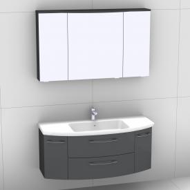 Artiqua 818 Block Waschtisch mit Waschtischunterschran mit 2 Auszügen und 2 Türen und LED-Spiegelschrank Front anthrazit hochglanz/verspiegelt / Korpus anthrazit glanz