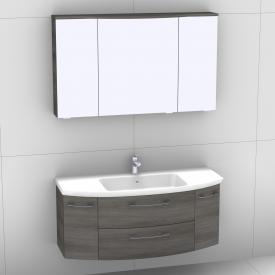 Artiqua 818 Block Waschtisch mit Waschtischunterschran mit 2 Auszügen und 2 Türen und LED-Spiegelschrank Front graphit struktur/verspiegelt / Korpus graphit struktur