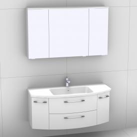 Artiqua 818 Block Waschtisch mit Waschtischunterschran mit 2 Auszügen und 2 Türen und LED-Spiegelschrank Front weiß hochglanz/verspiegelt / Korpus weiß glanz