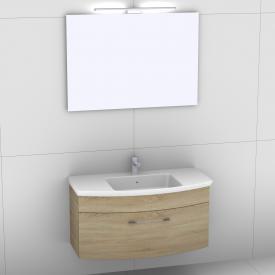 Artiqua 818 Block Waschtisch mit Waschtischunterschrank mit 1 Auszug und Spiegel mit LED-Beleuchtung Front castello eiche/verspiegelt / Korpus castello eiche