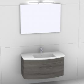 Artiqua 818 Block Waschtisch mit Waschtischunterschrank mit 1 Auszug und Spiegel mit LED-Beleuchtung Front graphit struktur/verspiegelt / Korpus graphit struktur