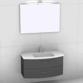 Artiqua 818 Block Waschtisch mit Waschtischunterschrank mit 2 Auszügen und Spiegel mit LED-Beleuchtung Front anthrazit hochglanz/verspiegelt / Korpus anthrazit glanz