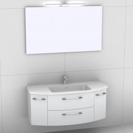 Artiqua 818 Block Waschtisch mit Waschtischunterschrank mit 2 Auszügen und 2 Türen und Spiegel mit LED-Beleuchtung Front weiß hochglanz/verspiegelt / Korpus weiß glanz