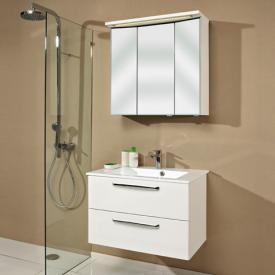 Artiqua 822 Mineralmarmor-Waschtisch mit WT-Unterschrank und 3 D-LED-Spiegelschrank Front verspiegelt/weiß glanz / Korpus weiß glanz