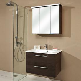 Artiqua 822 Mineralmarmor-Waschtisch mit WT-Unterschrank und Spiegelschrank mit LED-Profil Front verspiegelt/mokka struktur / Korpus mokka str.