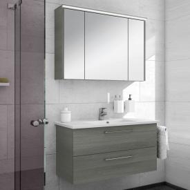 Artiqua 890 Block Waschtisch mit Waschtischunterschrank und LED-Spiegelschrank Front: graphit struktur/verspiegelt, Korpus: graphit struktur