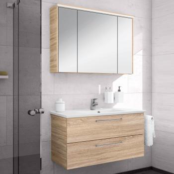 Artiqua 890 Block Waschtisch mit Waschtischunterschrank und LED-Spiegelschrank Front: castello eiche/verspiegelt, Korpus: castello eiche