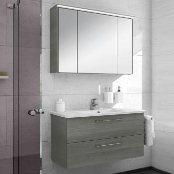 Artiqua 890 Block Waschtisch mit Waschtischunterschrank und LED-Spiegelschrank B:100 cm Front: graphit struktur/verspiegelt, Korpus: graphit struktur