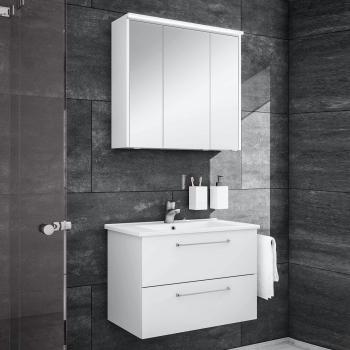 Artiqua 890 Block Waschtisch mit Waschtischunterschrank und LED-Spiegelschrank B:75 cm Front: weiß glanz/verspiegelt, Korpus: weiß glanz
