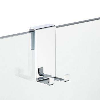 Avenarius Halter für Duschabtrennung, mit 2 Haken für 6, 8 und 10 mm