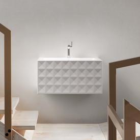Bette Loft Ornament Wand-Waschtisch, 4-reihig weiß, mit 1 Hahnloch