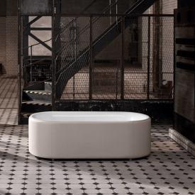 Bette Lux Oval Couture freistehende Badewanne Wanne weiß, Schürze ivory, Ablaufgarnitur chrom