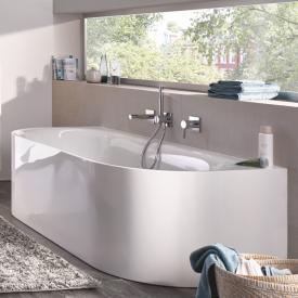 Bette Lux Oval I Silhouette Vorwand-Badewanne mit Verkleidung Wanne weiß, mit BetteGlasur Plus, Ablaufgarnitur weiß