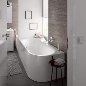 Bette Lux Oval IV Silhouette Eck-Badewanne, Ecke links weiß, mit BetteGlasur Plus