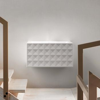 Bette Loft Ornament Wand-Waschtisch, 4-reihig weiß, ohne Hahnloch