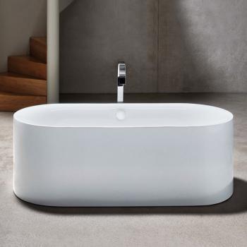 Bette Lux Oval Silhouette freistehende Badewanne Wanne weiß, mit BetteGlasur Plus, Ablaufgarnitur weiß, mit Wassereinlauf