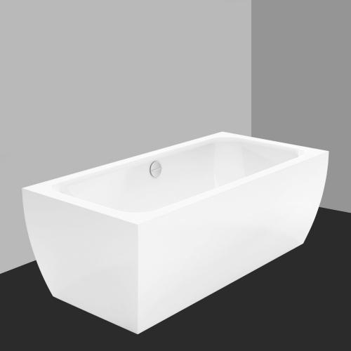 Bette Cubo Silhouette freistehende Badewanne Wanne weiß, Ablaufgarnitur chrom, für Griffmontage