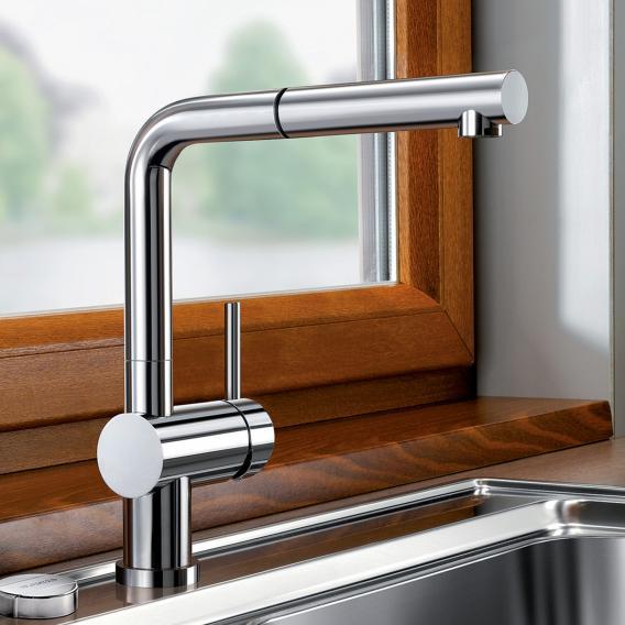 Blanco Linus-S-F Einhebelmischer, mit Ausziehbrause, für Vorfenstermontage chrom