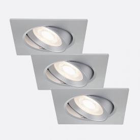 Briloner 3er Set LED Einbauleuchte eckig, schwenkbar