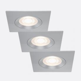 Briloner 3er Set LED Einbauleuchte eckig, starr
