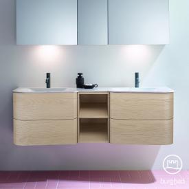 Burgbad Badu Doppelwaschtisch mit Waschtischunterschrank mit 4 Auszügen Front eiche cashmere dekor / Korpus eiche cashmere dekor, Griffleiste anthrazit, Waschtisch weiß