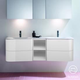 Burgbad Badu Doppelwaschtisch mit Waschtischunterschrank mit 4 Auszügen Front weiß hochglanz / Korpus weiß hochglanz, Griffleiste anthrazit, Waschtisch weiß