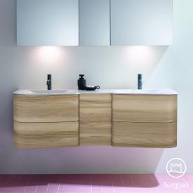 Burgbad Badu Doppelwaschtisch mit Waschtischunterschrank mit 4 Auszügen Front frassino cappuccino dekor / Korpus frassino cappuccino dekor, Griffleiste anthrazit, Waschtisch weiß