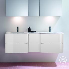 Burgbad Badu Doppelwaschtisch mit Waschtischunterschrank mit 6 Auszügen Front weiß hochglanz / Korpus weiß hochglanz, Griffleiste anthrazit, Waschtisch weiß