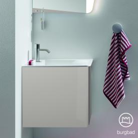 Burgbad Badu Handwaschbecken mit Waschtischunterschrank mit 1 Tür Front leinengrau hochglanz / Korpus leinengrau hochglanz, Griffleiste anthrazit, Waschtisch weiß