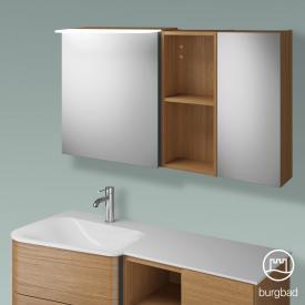 Burgbad Badu Spiegelschrank mit LED-Beleuchtung mit 2 Türen und Regal Korpus tectona zimt dekor, Griffleiste anthrazit, ohne Waschtischbeleuchtung