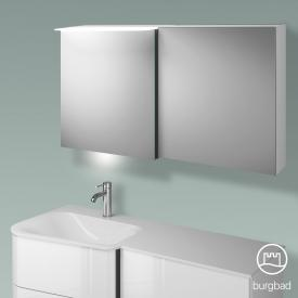 Burgbad Badu Spiegelschrank mit LED-Beleuchtung mit 2 Türen Korpus weiß hochglanz, Griffleiste anthrazit, mit Waschtischbeleuchtung