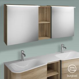 Burgbad Badu Spiegelschrank mit LED-Beleuchtung mit 2 Türen und Regal Korpus frassino cappuccino dekor, Griffleiste anthrazit, ohne Waschtischbeleuchtung