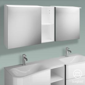 Burgbad Badu Spiegelschrank mit LED-Beleuchtung mit 2 Türen und Regal Korpus weiß hochglanz, Griffleiste anthrazit, ohne Waschtischbeleuchtung