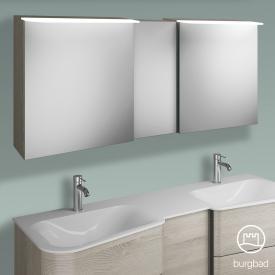 Burgbad Badu Spiegelschrank mit LED-Beleuchtung mit 3 Türen Korpus eiche flanell dekor, Griffleiste anthrazit, ohne Waschtischbeleuchtung