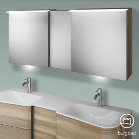 Burgbad Badu Spiegelschrank mit LED-Beleuchtung mit 3 Türen Korpus frassino cappuccino dekor, Griffleiste anthrazit, mit Waschtischbeleuchtung