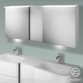 Burgbad Badu Spiegelschrank mit LED-Beleuchtung mit 3 Türen Korpus weiß hochglanz, Griffleiste anthrazit, mit Waschtischbeleuchtung