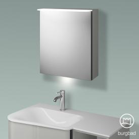 Burgbad Badu Spiegelschrank mit LED-Beleuchtung mit 1 Tür Korpus leinengrau hochglanz, Griffleiste anthrazit, mit Waschtischbeleuchtung
