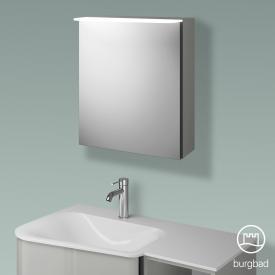 Burgbad Badu Spiegelschrank mit LED-Beleuchtung mit 1 Tür Korpus leinengrau hochglanz, Griffleiste anthrazit, ohne Waschtischbeleuchtung