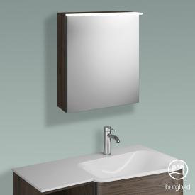 Burgbad Badu Spiegelschrank mit LED-Beleuchtung mit 1 Tür Korpus marone trüffel dekor, Griffleiste anthrazit, ohne Waschtischbeleuchtung