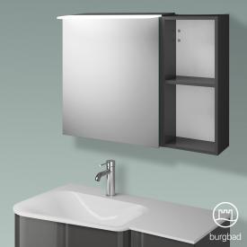 Burgbad Badu Spiegelschrank mit LED-Beleuchtung mit 1 Tür und Regal Korpus anthrazit hochglanz, Griffleiste anthrazit, ohne Waschtischbeleuchtung