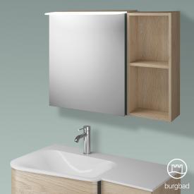 Burgbad Badu Spiegelschrank mit LED-Beleuchtung mit 1 Tür und Regal Korpus eiche cashmere dekor, Griffleiste anthrazit, ohne Waschtischbeleuchtung