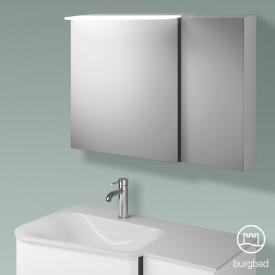 Burgbad Badu Spiegelschrank mit LED-Beleuchtung mit 2 Türen Korpus weiß matt, Griffleiste anthrazit, ohne Waschtischbeleuchtung